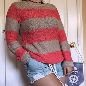 tan and coral striped sweater